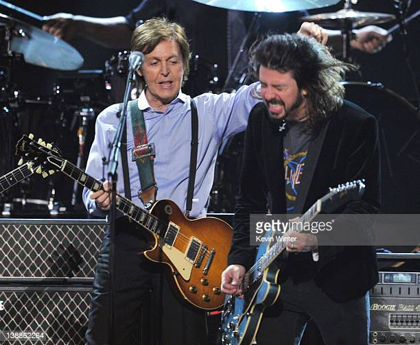 Paul McCartney and Dave Grohl perform onstage at the 54th Annual GRAMMY Awards held at Staples Center on February 12, 2012 in Los Angeles, California.
