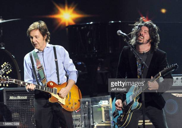 Paul McCartney and Dave Grohl perform onstage at the 54th Annual GRAMMY Awards held at Staples Center on February 12 2012 in Los Angeles California