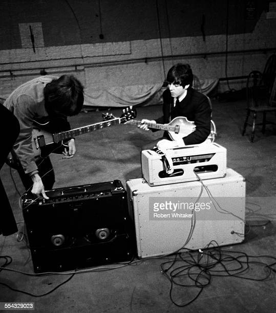 Paul McCartney and George Harrison are pictured at the Donmar Rehearsal Theatre in central London during rehearsals for The Beatles upcoming UK tour...