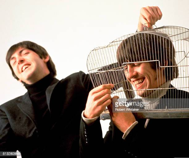Paul McCartney and George Harrison of The Beatles in an outtake from the cover session for the 'Yesterday & Today' album, Vale Studios, Chelsea,...