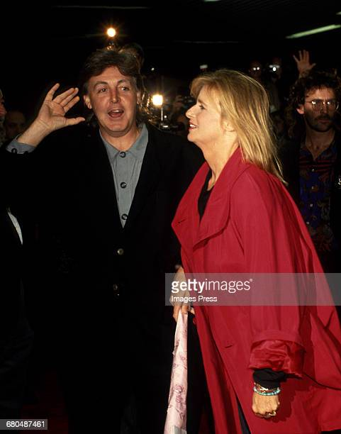 Paul McCartney and his wife Linda attend a Special Screening of the documentary 'Get Back' at the Baronet Theater circa 1991 in New York City