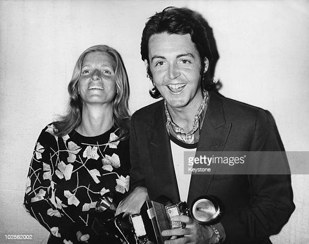 Paul McCartney and his wife Linda attend the 13th Grammy Awards at the Hollywood Palladium Los Angeles 16th March 1971 Paul is collecting the award...