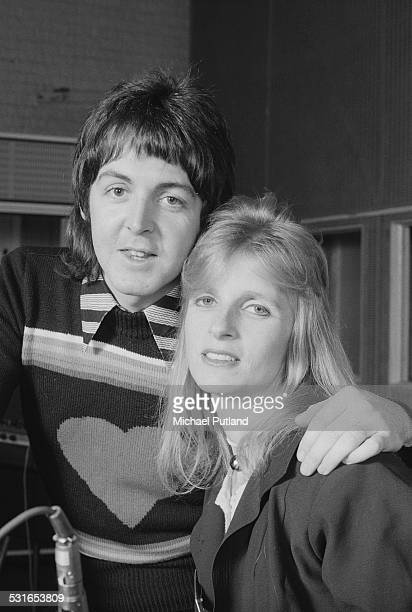 Paul McCartney and his wife Linda , of British rock group Wings, at Abbey Road Studios to record the album, 'Venus And Mars', London, 15th November...