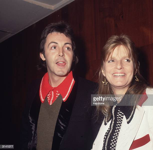Paul McCartney and his wife Linda who performed together as Wings after the breakup of the Beatles attend the 1978 NME Awards