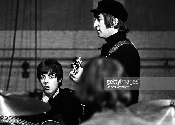 Paul McCartney and John Lennon are pictured at the Donmar Rehearsal Theatre in central London during rehearsals for The Beatles upcoming UK tour...