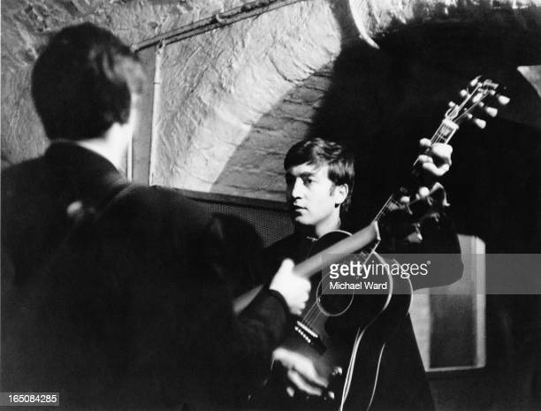 Paul McCartney and John Lennon of The Beatles during a rehearsal at the Cavern Club Liverpool 1st February 1963