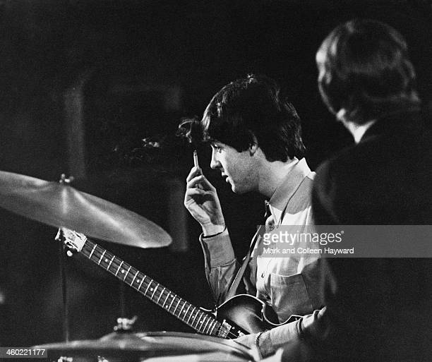 Paul McCartney and John Lennon on right perform with The Beatles on 'Thank Your Lucky Stars' at Teddington TV Studios in south west London on 11th...
