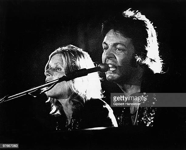 Paul McCartney and Linda McCartney from Wings performs live on stage at The Theatre Antique in Arles France on July 13 1972