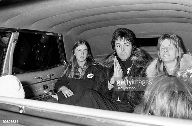 Paul McCartney and Linda McCartney of Wings sitting in a car arriving in Copenhagen on March 20th 1976 in Denmark