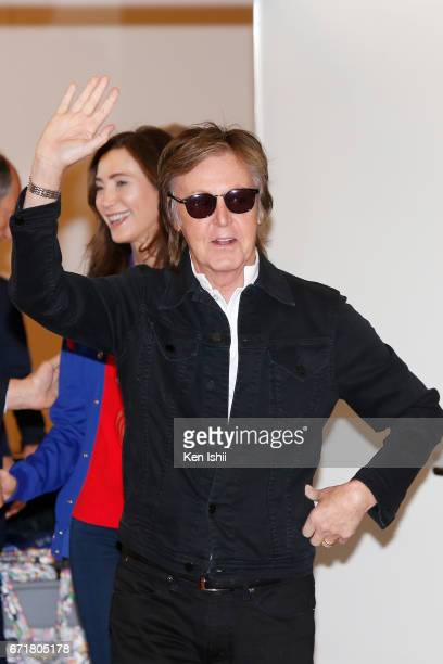 Paul McCartney and Nancy Shevell are seen upon arrival at Haneda Airport on April 23 2017 in Tokyo Japan