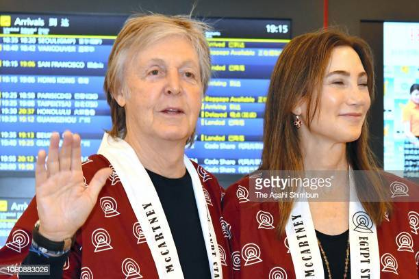 Paul McCartney and Nancy Shevell arrive at Haneda Airport on October 29 2018 in Tokyo Japan