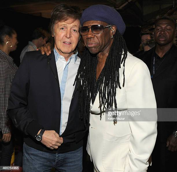 Paul McCartney and Nile Rogers attend the 56th GRAMMY Awards at Staples Center on January 26 2014 in Los Angeles California