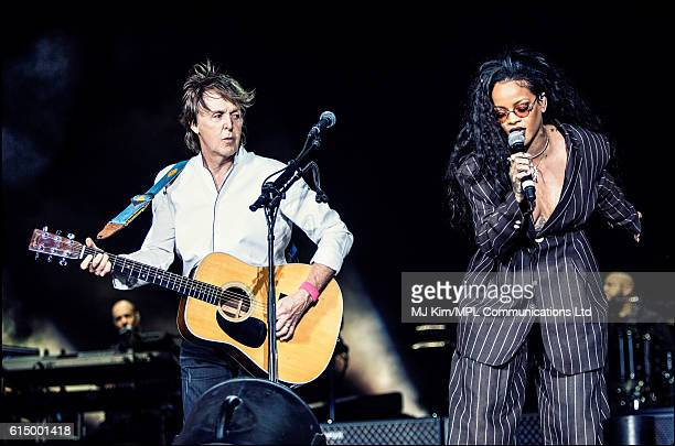 Paul McCartney and Rihanna perform on Day 3 of Desert Trip Weekend 2 at the Empire Polo Field on October 15 2016 in Indio California