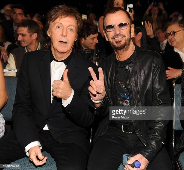 Paul McCartney and Ringo Starr attend The Night That Changed America A GRAMMY Salute To The Beatles at Los Angeles Convention Center on January 27...