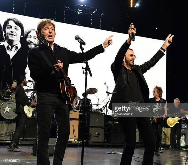 Paul McCartney and Ringo Starr perform onstage during the 30th Annual Rock And Roll Hall Of Fame Induction Ceremony at Public Hall on April 18 2015...