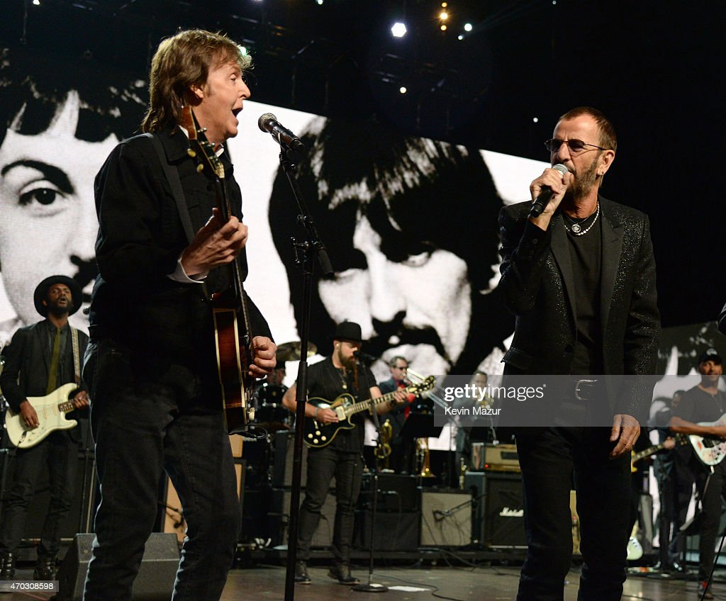 Paul McCartney and Ringo Starr perform onstage during the 30th Annual Rock And Roll Hall Of Fame Induction Ceremony at Public Hall on April 18, 2015 in Cleveland, Ohio.