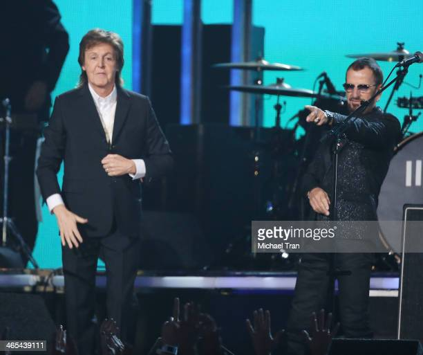Paul McCartney and Ringo Starr perform onstage during the 56th GRAMMY Awards held at Staples Center on January 26 2014 in Los Angeles California