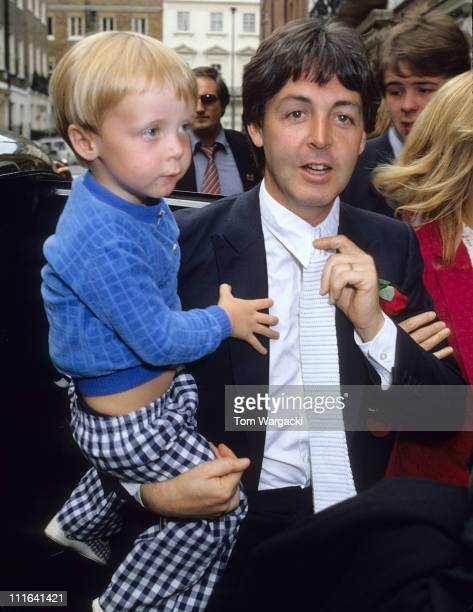 Paul McCartney and son James at Rags Club Mayfair for Ringo Starr and Barbara Bach Wedding Reception