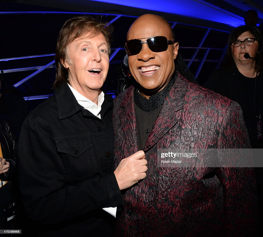 Paul McCartney and Stevie Wonder attend the 30th Annual Rock And Roll Hall Of Fame Induction Ceremony at Public Hall on April 18, 2015 in Cleveland, Ohio.