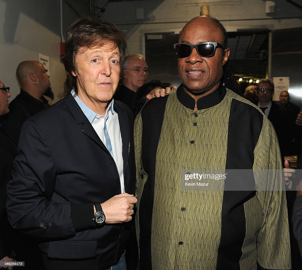 Paul McCartney and Stevie Wonder attend the 56th GRAMMY Awards at Staples Center on January 26, 2014 in Los Angeles, California.