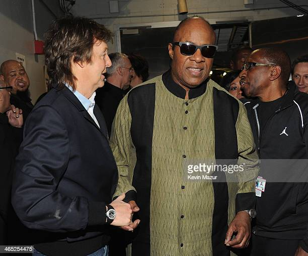 Paul McCartney and Stevie Wonder attend the 56th GRAMMY Awards at Staples Center on January 26 2014 in Los Angeles California