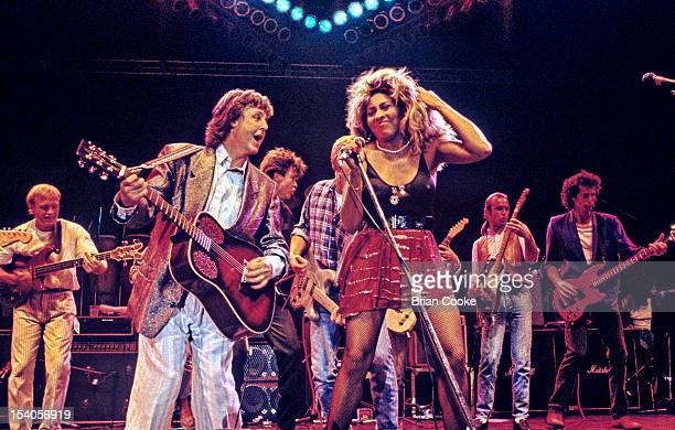 Paul McCartney and Tina Turner performing on stage at The Prince's Trust 10th Birthday Party at Wembley Arena, London, United Kingdom on 20th June...