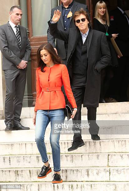 Paul McCartney and wife Nancy Shevell attend the Stella McCartney show at the Opera Garnier during Paris Fashion Week Fall Winter 2015/2016 on March...