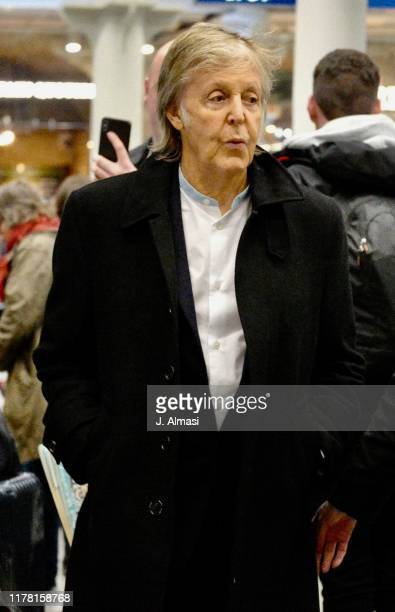 Paul McCartney arriving at Kings Cross St Pancras from Paris on September 30, 2019 in London, England.