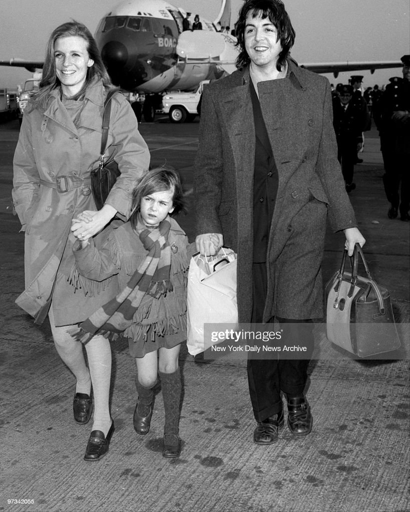 Paul McCartney Arriving With Wife Linda Eastman And Daught