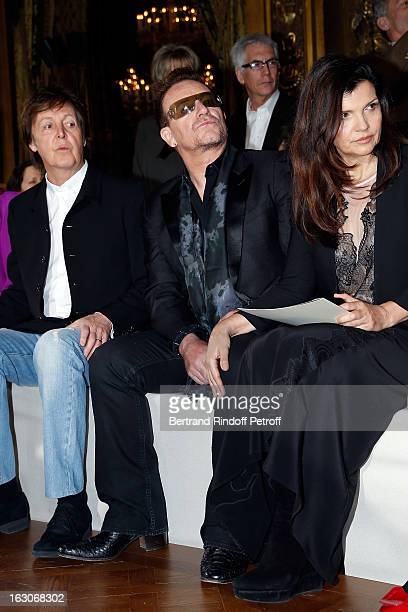 Paul McCartney Bono and his wife Ali Hewson attend the Stella McCartney Fall/Winter 2013 ReadytoWear show as part of Paris Fashion Week on March 4...