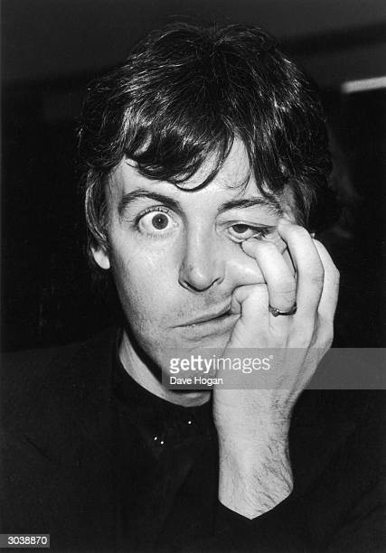 Paul McCartney formerly of the Beatles pulls a peculiar face 1983