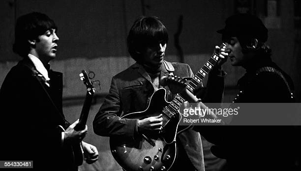 Paul McCartney George Harrison and John Lennon are pictured at the Donmar Rehearsal Theatre in central London during rehearsals for The Beatles...