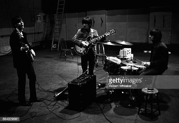 Paul McCartney George Harrison and Ringo Starr are pictured at the Donmar Rehearsal Theatre in central London during rehearsals for The Beatles...