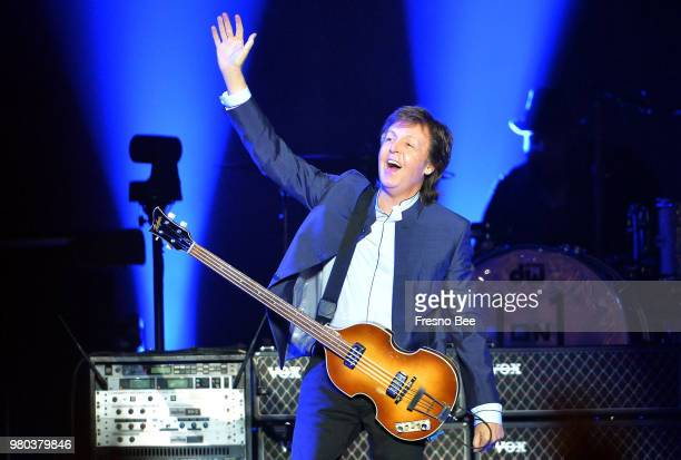 Paul McCartney greets the crowd at the start of his 'One on One' tour on Wednesday April 13 at the Save Mart Center in Fresno Calif McCartney...