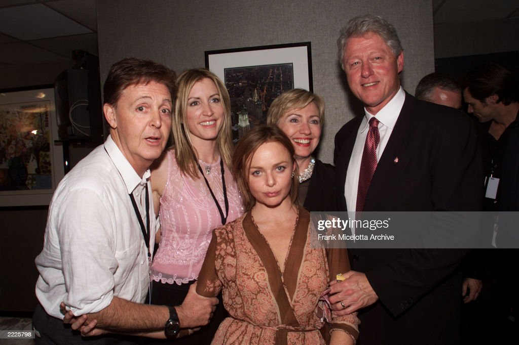 Paul McCartney Heather Mills Stella And Hillary Bill Clinton Backstage At The