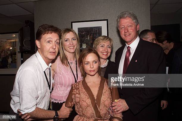 Paul McCartney, Heather Mills, Stella McCartney and Hillary and Bill Clinton backstage at The Concert for New York City at Madison Square Garden in...