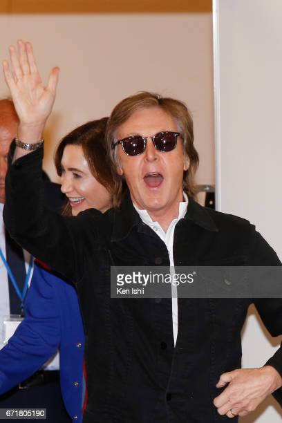 Paul McCartney is seen upon arrival at Haneda Airport on April 23 2017 in Tokyo Japan