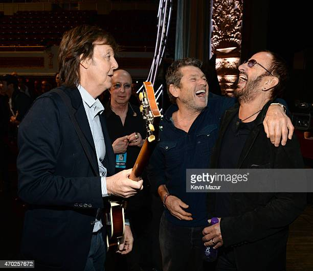 Paul McCartney, Jann Wenner and Ringo Starr attend the 30th Annual Rock And Roll Hall Of Fame Induction Ceremony at Public Hall on April 18, 2015 in...
