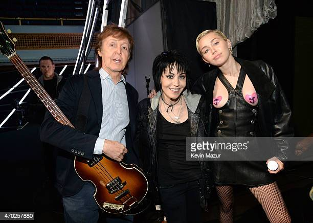 Paul McCartney Joan Jett and Miley Cyrus attend the 30th Annual Rock And Roll Hall Of Fame Induction Ceremony at Public Hall on April 18 2015 in...