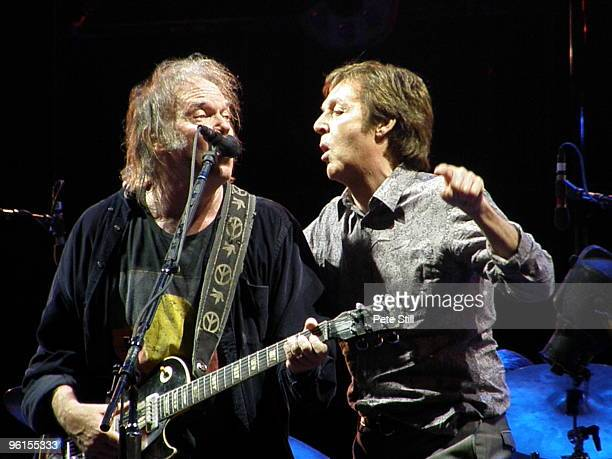 Paul McCartney joins Neil Young on stage on day 2 of Hard Rock Calling 2009 in Hyde Park on June 27 2009 in London England