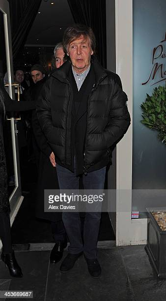 Paul McCartney leaves La Petite Maison restaurant sighting on December 4 2013 in London England