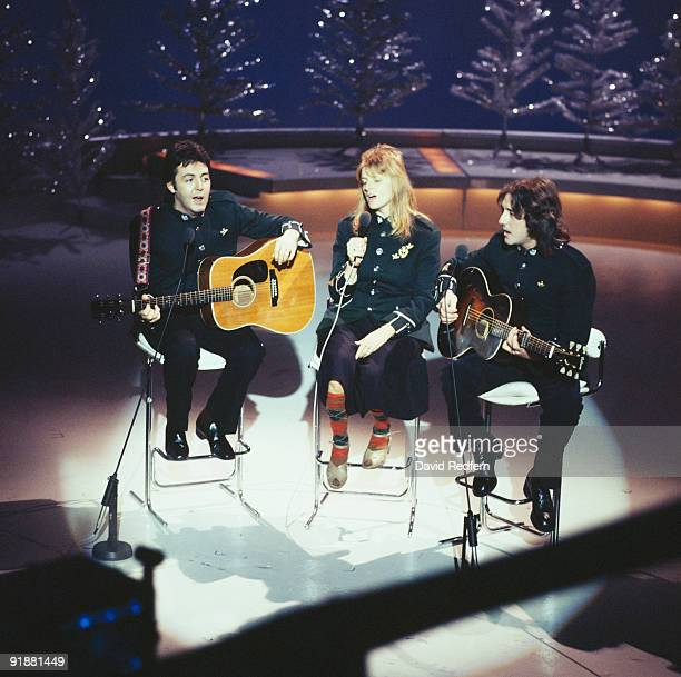 Paul McCartney Linda McCartney and Denny Laine of Wings perform on the Mike Yarwood Christmas Special filmed at BBC Television Centre in London...