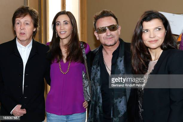 Paul McCartney Nancy Shevell Bono and his wife Ali Hewson attend the Stella McCartney Fall/Winter 2013 ReadytoWear show as part of Paris Fashion Week...