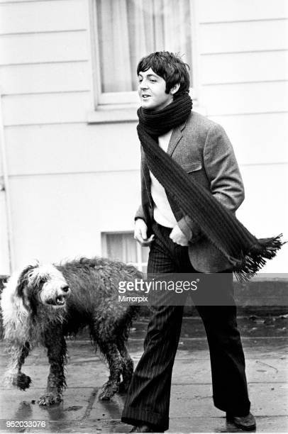 Paul McCartney of The Beatles at his St Johns Wood London home with his sheep dog Martha behind him Picture taken as part of an interview with Paul...