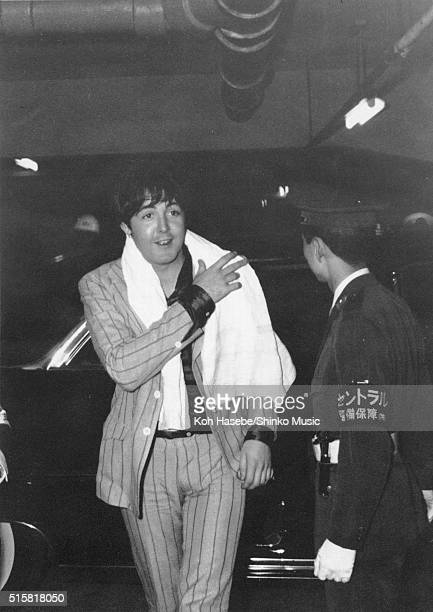Paul McCartney of The Beatles returns to the hotel after the band's 3rd concert at Budokan Tokyo Japan July 1 1966