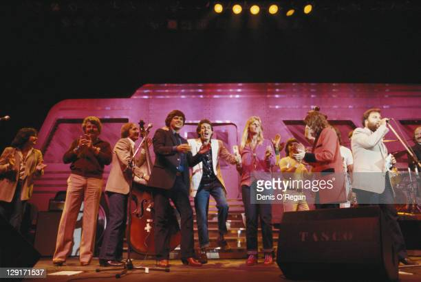 Paul McCartney on stage at a Buddy Holly Tribute Concert at Hammersmith Odeon London 14th September 1979 From second left Bob Montgomery Joe B...