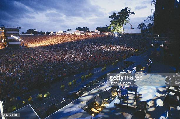 Paul McCartney performing at the Knebworth Festival, Hertfordshire, 30th June 1990.