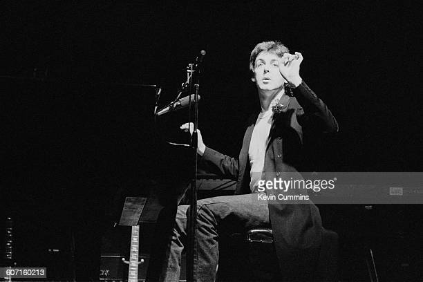 Paul McCartney performing with his band Wings at the Apollo Manchester 28th November 1979