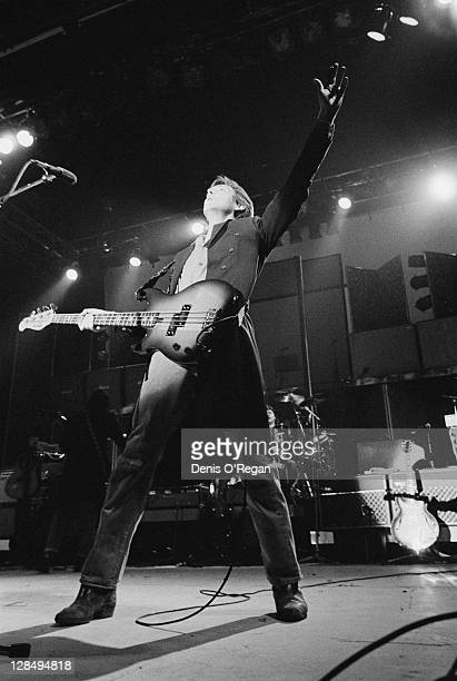 Paul McCartney performing with his band Wings at Wembley Arena London December 1979
