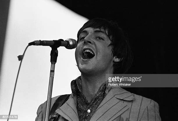 Paul McCartney performing with the Beatles at the Rizal Memorial Football Stadium Manila Philippines during the group's final world tour 4th July 1966